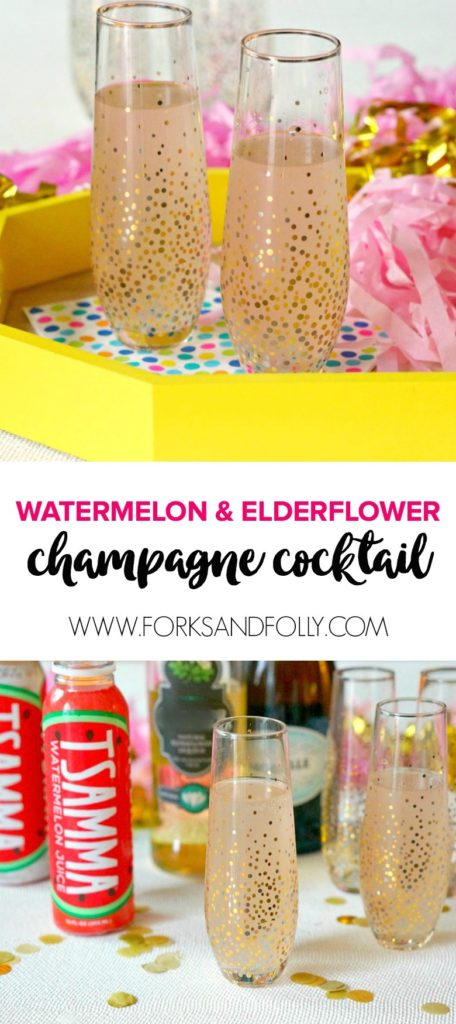 Our Watermelon & Elderflower Champagne Cocktail is the perfect way to toast the New Year.  Enjoy this cocktail full of handcrafted hydration... and a shot of fun!