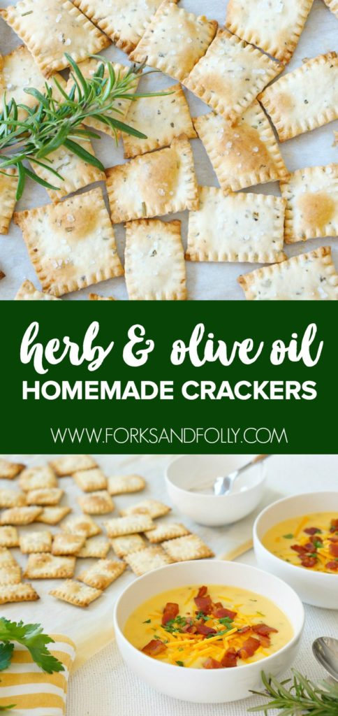 Our recipe for Herb and Olive Oil Homemade Crackers are the perfect complement to our favorite Loaded Potato Soup.  Cuddle up on the couch with a bowl of cheesy soup and these delicious homemade crackers to celebrate National Soup Month!