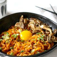Kimchi Udon Noodle Bowl with Mushrooms