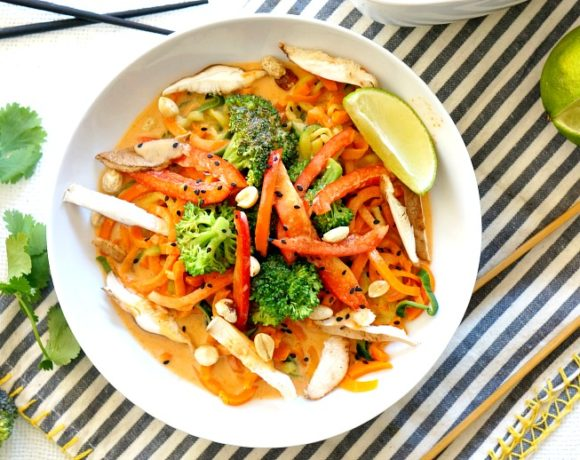 Our Coconut Curry Veggie Noodle Bowl comes together in less than 15 minutes!  Both vegan and gluten free it's an easy and healthy nutrient-packed meal for lunch or dinner.