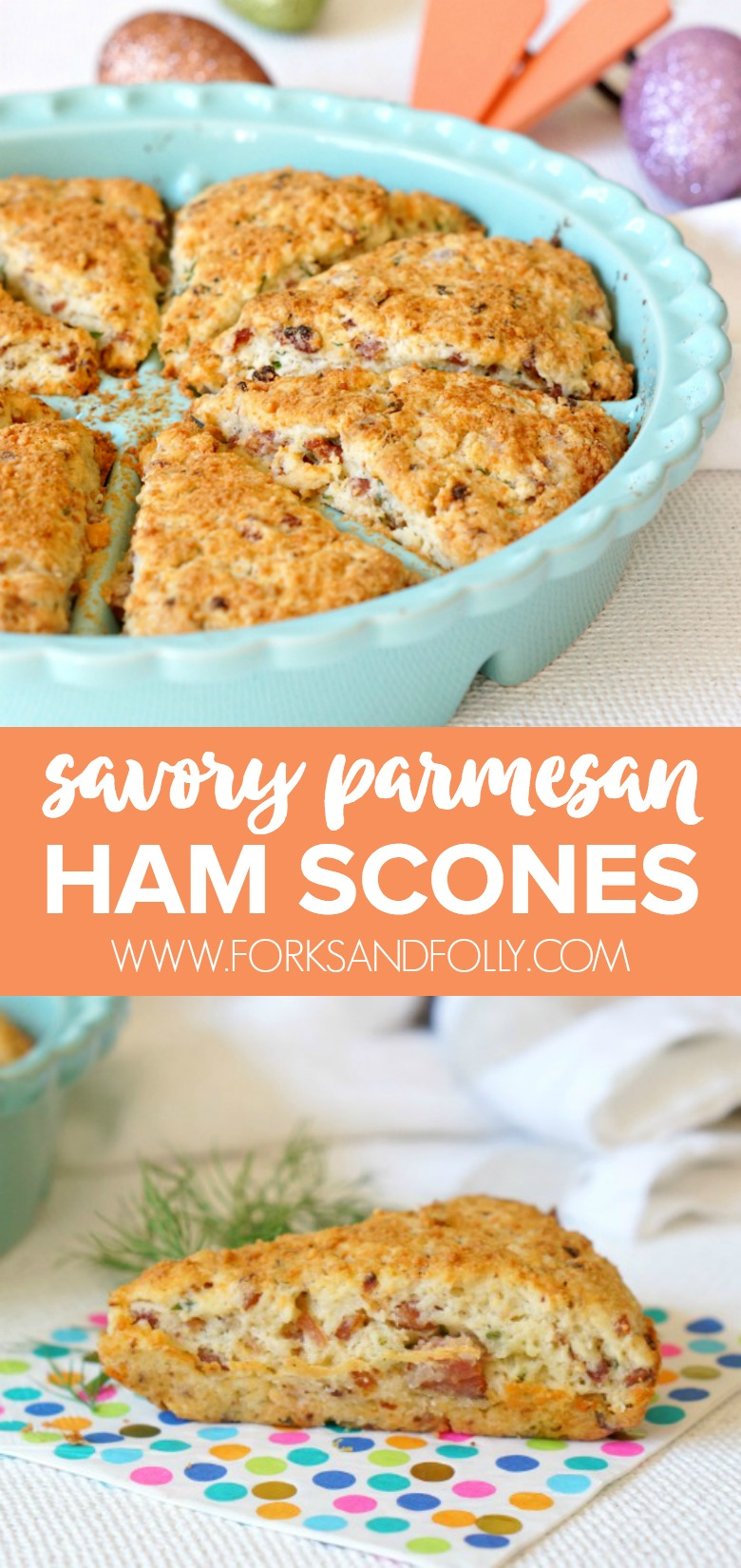 Leftover ham takes centerstage in these savory ham and cheese scones.  Easy to make, the pan fried bits of ham bring a big flavor boost to the humble scone.