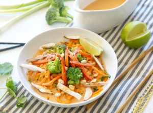 Our Coconut Curry Veggie Noodle comes together in less than 15 minutes!  Both vegan and gluten free it's an easy and healthy nutrient-packed meal for lunch or dinner.