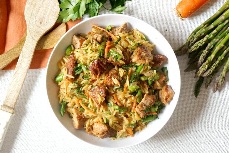 One Pot Pork & Veggie Orzo Toss