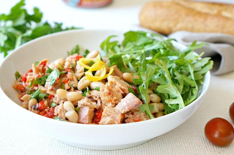 Simple does it with our Italian Style Preserved Tuna Recipe with Herbs & Beans recipe!  Prepare in under 10 minutes with fresh and light ingredients.  Inspired by days spent port-side on travels to the coast of Italy.