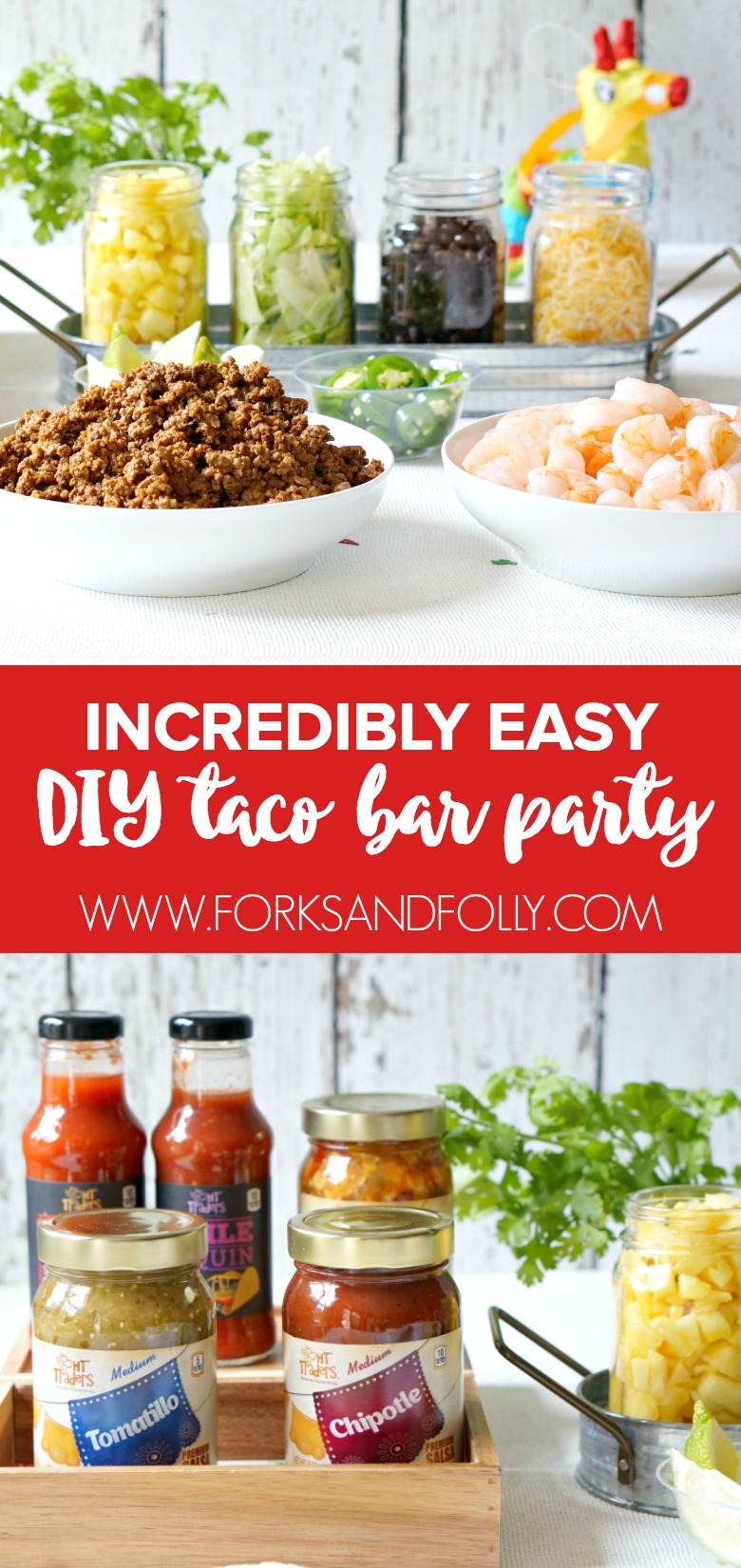 Our Cinco de Mayo Taco Bar Party looks like we spent some serious time preparing.  But did we?  Get the scoop on this super fun DIY Taco Bar for your next summer party.