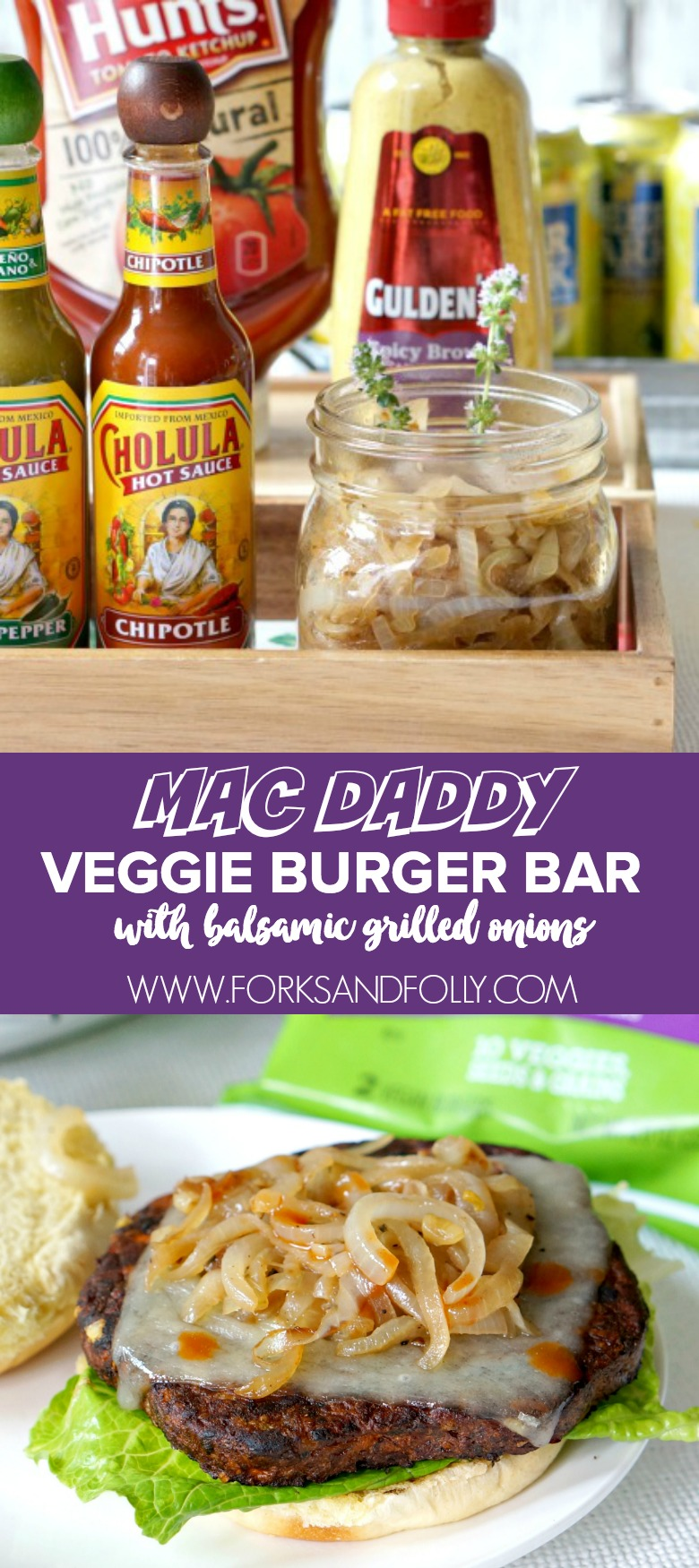 Our MacDaddy Veggie Burger Bar is the best way to entertain this summer season.  With easy condiments and our fab balsamic grilled onions, these veggie burgers will be the hit of the barbecue!