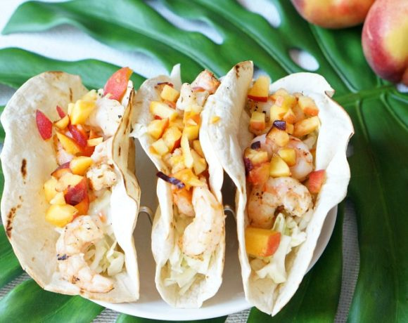 Grilled Shrimp and Peach Summer Tacos