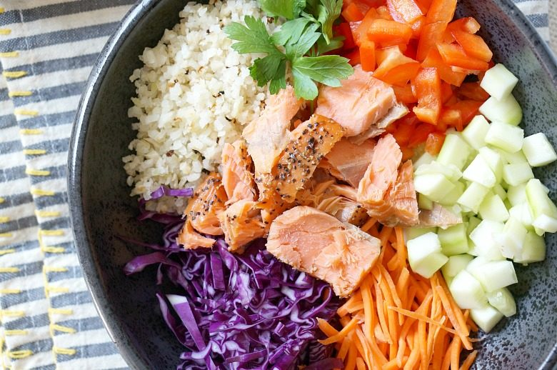 Prep the ingredients for our Riced Veggie Bowls with Smoked Salmon on Sunday for easy dairy and gluten free suppers and brown bag lunches all week long.