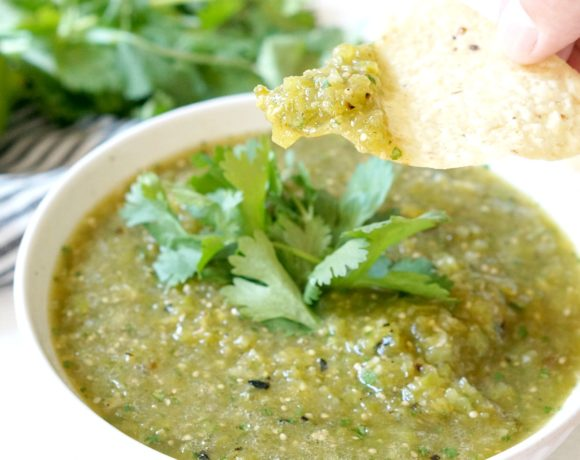 Don't skip the step of charring the veggies for this Salsa Verde.  It lends so much flavor to this absolutely delicious Roasted Tomatillo Salsa Verde.