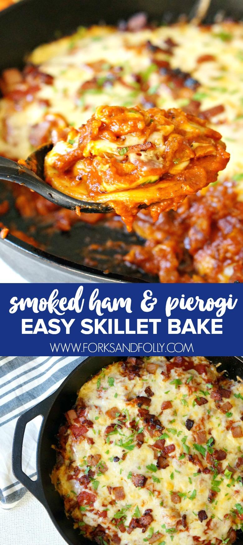 Easy Smoked Ham and Pierogi Skillet