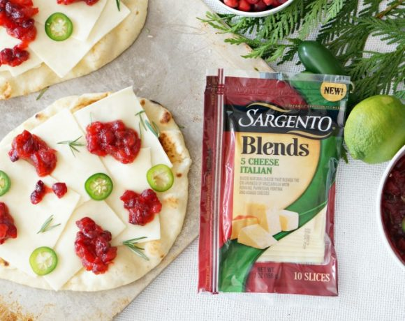 Our Spicy Cranberry Flatbreads liven up the appetizer spread at any holiday gathering, with the perfect combo of spicy, sweet, tangy and salty flavors.  It's also the perfect way to use up leftover cranberry sauce from Thanksgiving dinner!