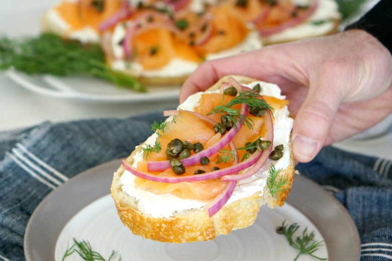 Our Smoked Salmon Toasts with Fried Capers make a savory breakfast treat. Bring them to the holiday brunch table for a special snack all will love.