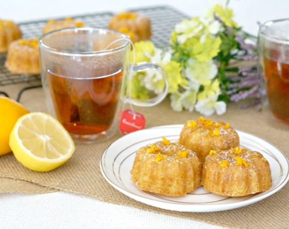 Olive Oil & Citrus Mini Bundt Cakes are a tasty bite-sized treat to serve with your favorite cup of tea.  Easy to make and delicately flavored, it's a perfect pairing