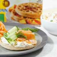 Smoked Salmon Waffles with Homemade Veggie Cream Cheese