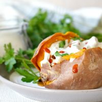 Chicken Stuffed Sweet Potatoes with Creamy Ranch Dressing