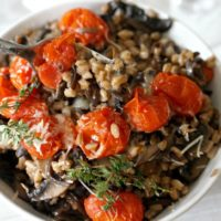 Risotto Style Farro with Wild Mushrooms and Blistered Tomatoes