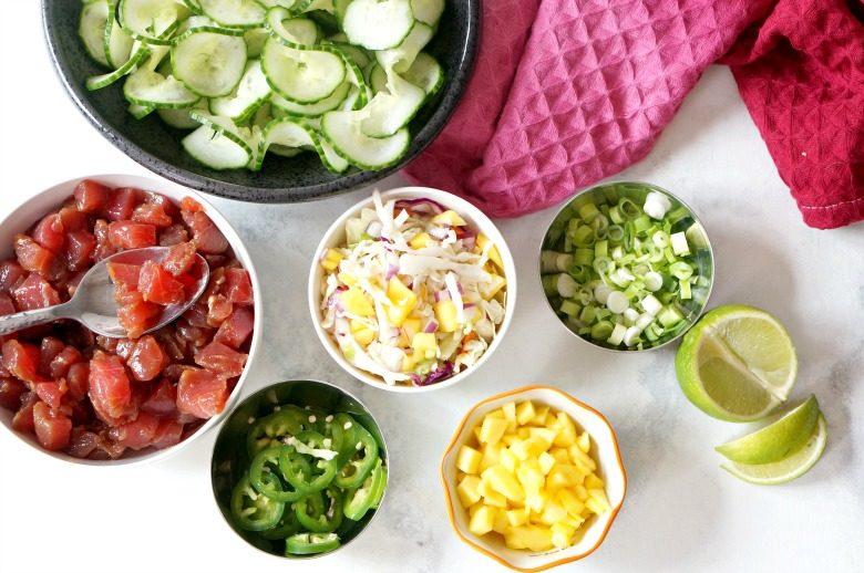 Cucumber Zoodle Tuna Poke Bowls
