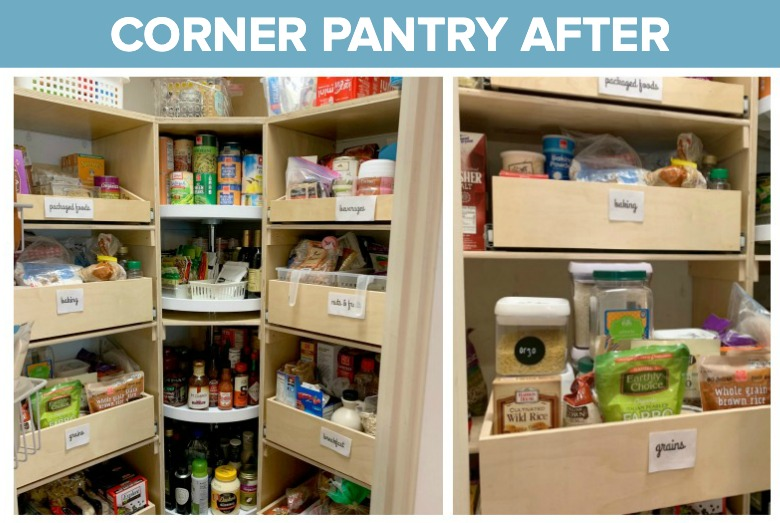 An enviable Corner Pantry Makeover? It's possible! Discover how this food blogger and mom of four made the most of the dreaded corner pantry!
