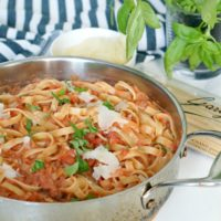 Tomato Cream and Pancetta Fettuccini