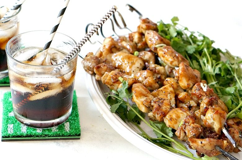 These Coke & Pineapple Glazed Chicken Skewers make the perfect game time treat.  Served with Share a Coke bottles with team logos, you'll be fueled for a great game!