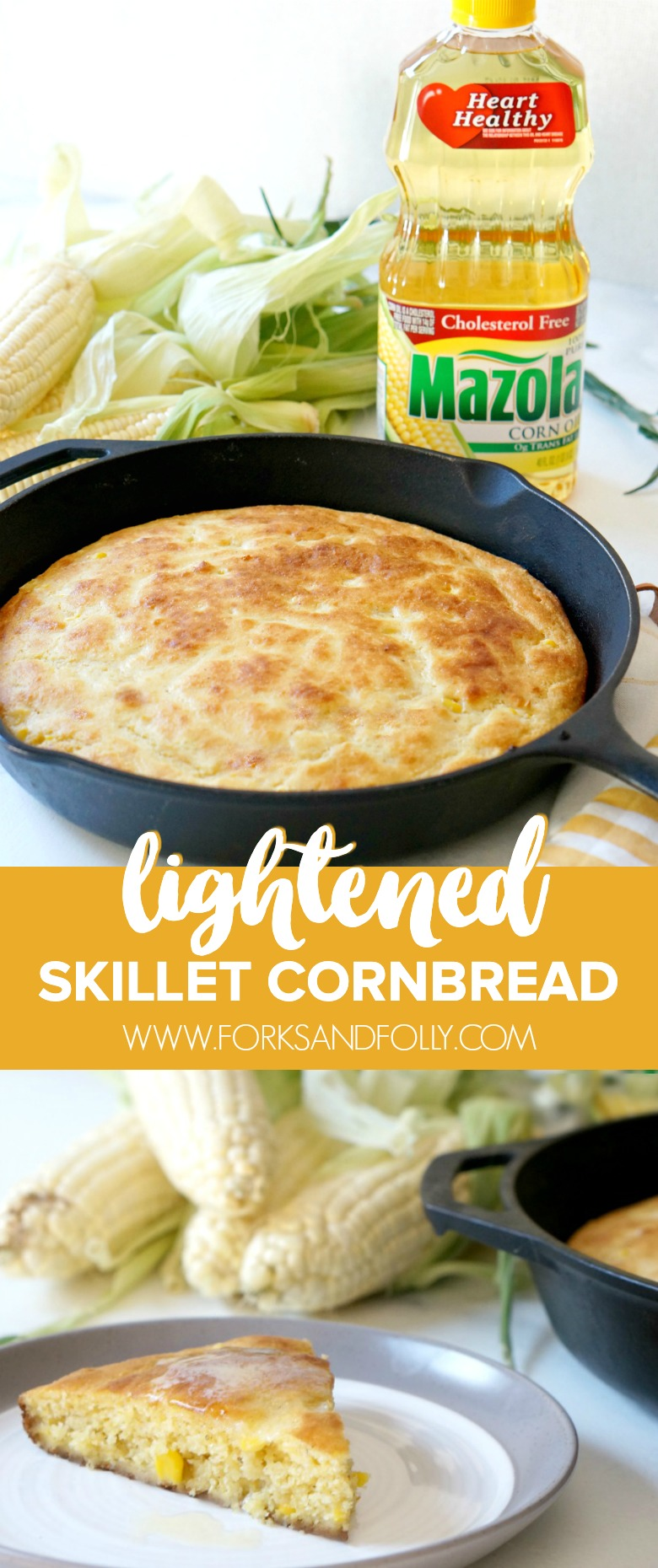 This Lightened Skillet Cornbread is a must-make recipe for this fall!  Serve it with chili on game day or a a Thanksgiving side!