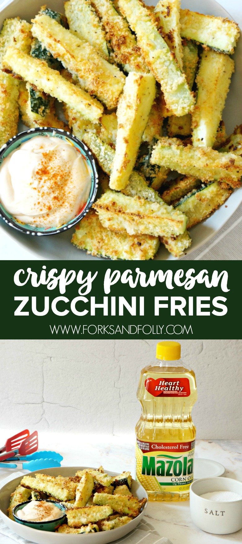 Celebrate Heart Health Month this February by serving these these baked Crispy Parmesan Zucchini Fries as an appetizer or veggie side dish your whole family will love!