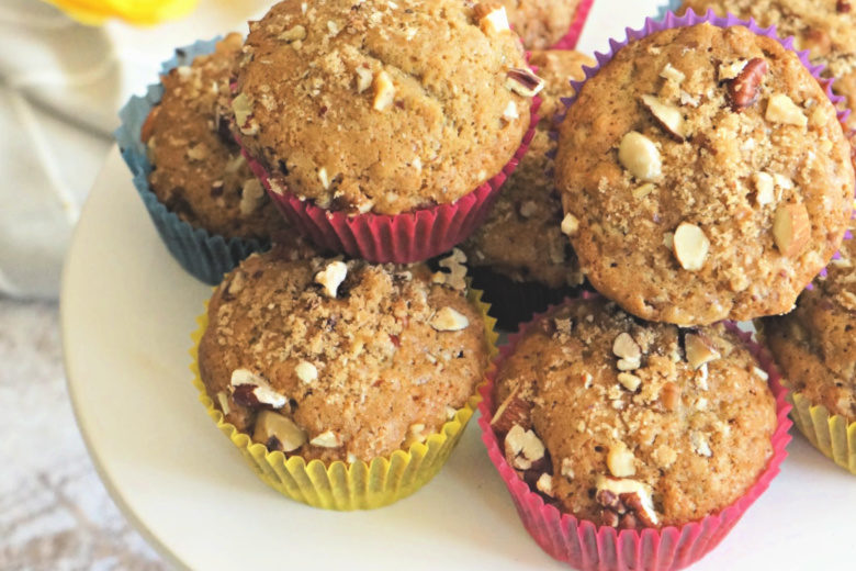 Nutty Banana Bread Muffins are just what you need to add a little happiness to your quarantine days. Bonus - they use up past-their-prime bananas!