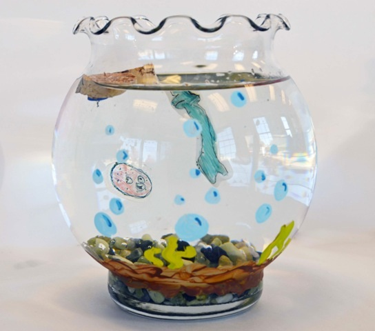 Kid 39 s diy craft shrinky dink fishbowl for Fish bowl craft