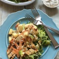 Cauliflower Steaks with Zucchini Noodles and Nectarine